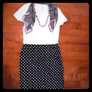 J Crew Factory sateen navy white dot pencil skirt